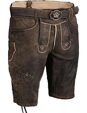Spieth & Wensky Herren Kurze Lederhose mit Gürtel und 3D Stickerei braun, braun,