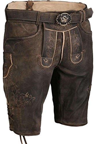 Herren Spieth & Wensky Kurze Lederhose mit Gürtel und 3D Stickerei braun, braun, 58