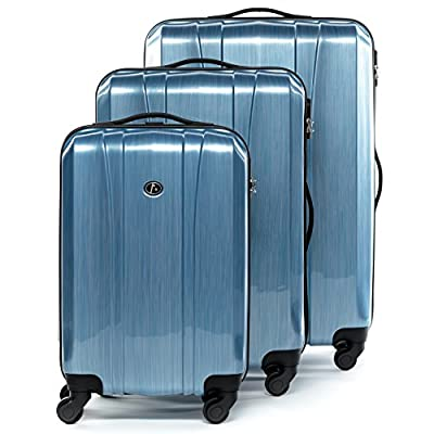 FERGÉ luggage set 3 piece hard shell trolley Dijon suitcase set 4 spinner wheels blue - luggage-sets