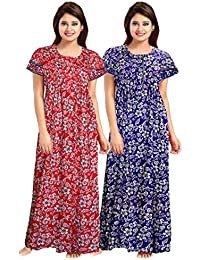YUKATA Womens Cotton Printed Nighty, Free Size(2PCSCOMBO)