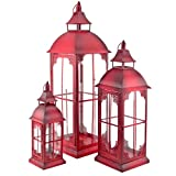 art decor Laterne rot, Metalllaterne, 3er Set, Laternenset, Windlicht, Kerzenhalten, Gartenlaterne