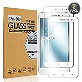 [2 Pezzi] Owbb Bianco Vetro Temperato Pellicola Per Asus ZenFone 3 (5.2pollici) ZE520KL Full Coverage Protettiva Protezione 9H Durezza 99% Alta Trasparente