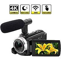 Cámara de videocámara 4K WiFi cámara de vídeo Digital de 48 MP con Pantalla táctil de 3,0 Pulgadas, función de Pausa de visión Nocturna con micrófono