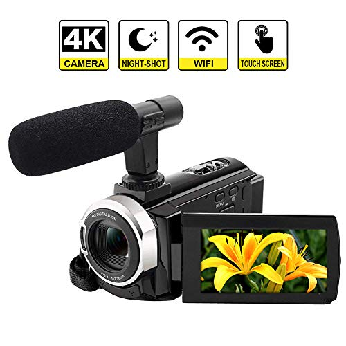 "4K Camcorder Videokamera mit Mikrofon WiFi Camcorder HD 48MP Digitalkamera 3,0"" Touchscreen Nachtsicht Funktion"