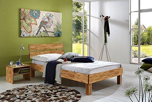 SAM® Massiv-Holzbett Julia in Wildeiche geölt, Bett mit geteiltem Kopfteil, natürliche Maserung, massive widerstandsfähige Oberfläche in warmem Braunton, 90 x 200 cm thumbnail