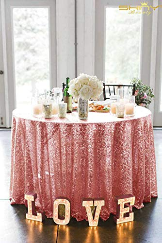 ShinyBeauty Sequin Tablecloth Pink Gold 156-Inch Rou