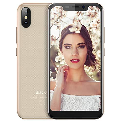 Blackview A30 - (2018) Smartphone Libre Dual SIM 5.5 Pulgadas (19: 9) FHD Android 8.1 Telefonos Moviles Dual Cámaras 2GB+16GB batería 2500mAh Face ID 3G blackview Phone Oro