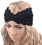 Tonsee® Fashion Women Headwear Twist Sport Yoga Lace Headband Turban Headscarf Wrap (Black)