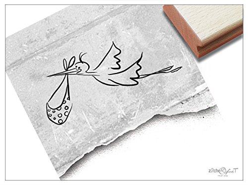 Stempel - Motivstempel STORCH Klapperstorch groß - Bildstempel zur Geburt Taufe - Kind Kinder Baby - von zAcheR-fineT