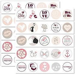 younikat 2er Set Hochzeits-Aufkleber I dv_084_rosa I 50 Stück I rund Ø 3,6 cm I Geschenk-Aufkleber mit Liebes-Motiven I Deko-Sticker für Hochzeit und Valentinstag