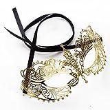 Mond l i Eleganz Diamante Luxus sexy Laser geschnitten Reiz venezianischem Stil Metall filigran maskerademaske mit whiterhinestone (Prinzessin Gold)