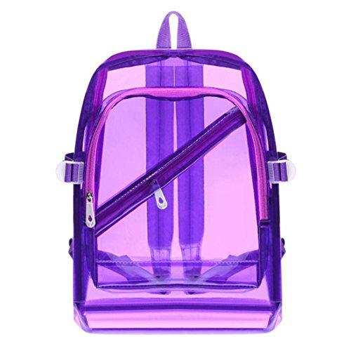 Mode Hologramm Transparent Rucksack Wasserdicht PVC Klar Kunststoff Täglich Rucksack Mini Teenager Mädchen Notebook Schultasche Purple