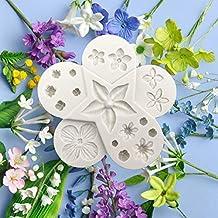 Molde de resina epoxi de silicona, molde para hornear pasteles de hojas de flores,