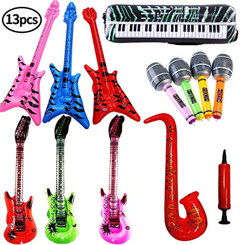 SWZY Inflables de Juguete, Inflable Guitarra Saxofón Micrófono Teclado, Música Parte Prop para Fiesta,Rock Star Saxofón Guitarra Micrófono Inflatable Instruments , 13 Pcs (Color al Azar)