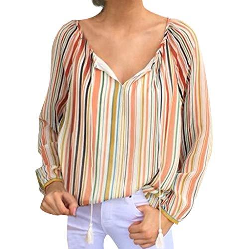 DOFENG Damen T Shirt Bluse Sweatshirt Damen Lange Ärmel Mode Locker Streifen Lässig Bandage V Hals Pullover Oberteil Tops (Orange, XX-Large) (Mens Größe 13 Stiefel Winter)
