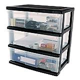 IRIS, Schubladenbox 'Wide Chest', WC-N603, 3 Schubladen, für Werkzeuge, Plastik, schwarz, 60 x 41 x 69 cm