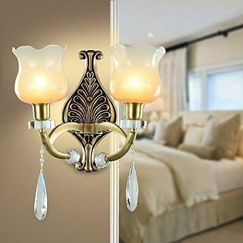 BBSLT Rame, American rame parete lampada salotto Lampade comodino navata scale camera da letto europea giada cristallo lampada doppia testa lampada da parete 380 * 320mm