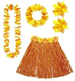 Widmann 24566 - Erwachsenenkostümset Hawaii, Bastrock, Blumenkette, Blumenstirnband und Blumenarmbänder, orange, Einheitsgröߟe