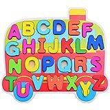 Gazechimp Juegos de Aprendizaje Alfabeto de Madera Puzzles Autobús Colorido Niños