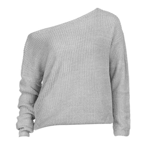 Manadlian Femme Sweater T-Shirt Col Bateau Sexy Shirt Pull Manche Longue Chandail Top Tricot Casual Automne- Hiver Gris