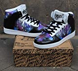 "Dac crew High Top Sneaker Schuhe Style Custom ""Black Galaxy Drip"" Graffiti Shoes"