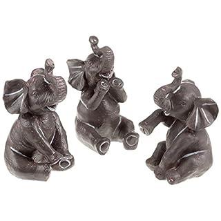 Pajoma 79679 Baby Deko Elefanten, Kunstharz, 3-er Set, Höhe 14 cm