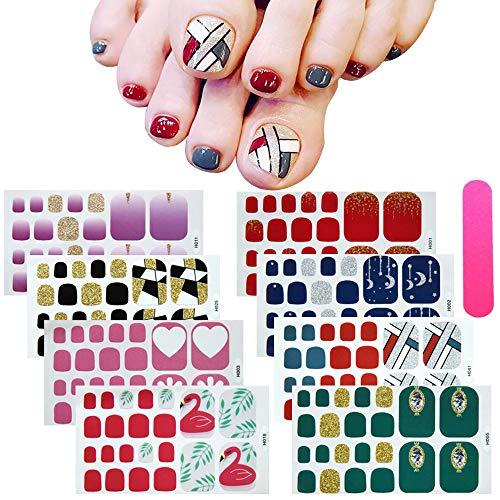 8 Blatt Zehennagel-Aufkleber Toenail Nail Art Sticker, Mwoot Volldeckung-Zehennagel-Kunst-Funkeln-Frischer Art-Zehennagel-Aufkleber-Funkelnder Fußabziehbild - Zehennagel-kunst