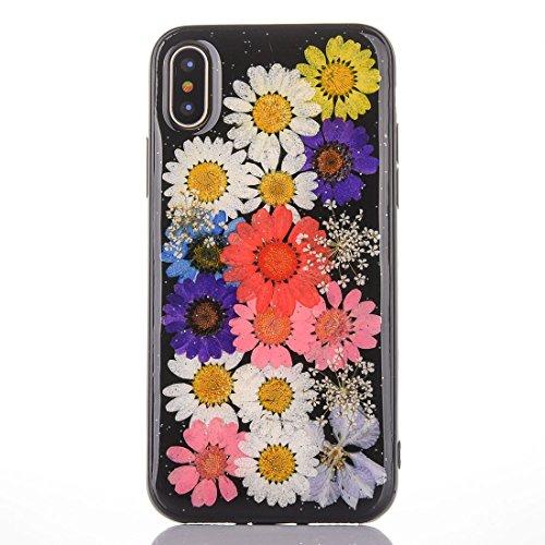 Mobiltelefonhülle - Für iPhone X Schwarz Epoxy Tropf Pressed Echte Getrocknete Blume Weiche Schutzhülle ( SKU : Ip8g0987k ) Ip8g0987a