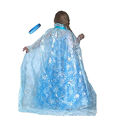 Snowflakes Costumes For Kids - Frozen Inspired Shimmering Elsa Snowflake Cape with