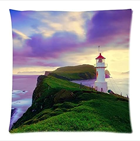 Personalized beautiful lighthouse pattern soft Satin bolster case pillowcase,Zipper pillow cases 18