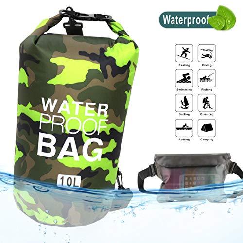 Idefair borsa impermeabile a secco, zaino da spiaggia galleggiante borsa da viaggio leggero a secco per la spiaggia, canottaggio, pesca, kayak, nuoto, rafting, camping10l 20l (verde, 10l)