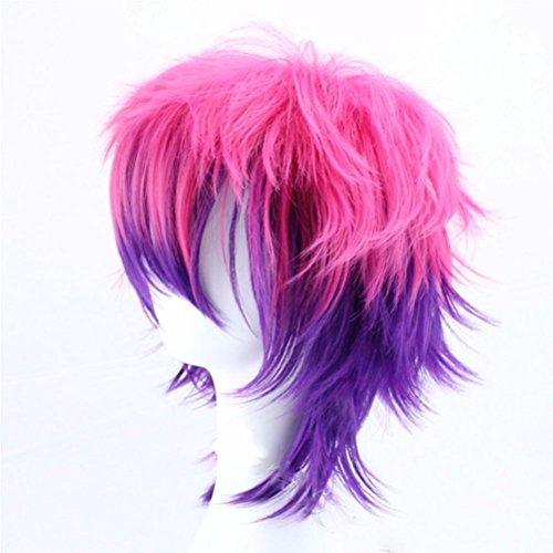 Animation kurze Haare Perücke rosa lila mischen COSPLAY Perücke