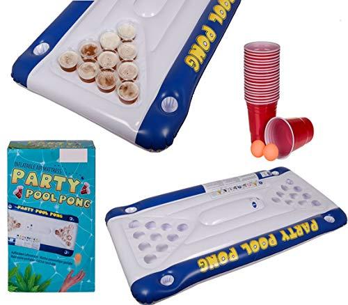 Bada Bing 23 TLG. Luftmatratze mit Integriertem Trinkspiel Pool Pong Ca. 152 x 76 cm Partyspiel Aufblasbar Bier Pong Beer Spiel Partyspiel Für Unterwegs JGA 25 -
