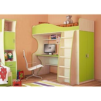 Unbekannt Jugendzimmer Hochbett Kombibett mit Schrank Schreibtisch ...
