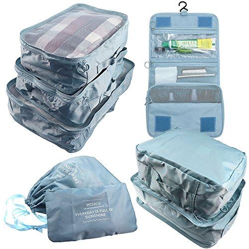 Arxus 8 Set Reisen Wasserdichte Verpackung Organizer Würfel mit Schuhbeutel und Kulturbeutel (Licht Blau)