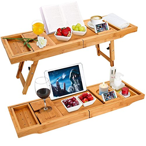 Unuber Badewanne Caddy & Laptop Bett Schreibtisch - 2 in 1 innovatives Design verwandelt unsere 100% extra große Bambus Badewanne Tablett zu Bett Tablett - für das ultimative Verwöhnerlebnis - Schlafzimmer-modern-kaffee-tisch