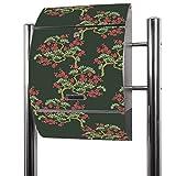 BANJADO Edelstahl Briefkasten groß, Standbriefkasten freistehend 126x53x17cm, Design Briefkasten mit Zeitungsfach Motiv Bonsai