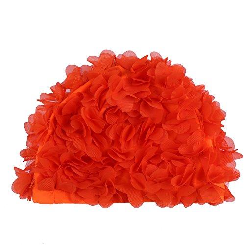 Moresave mujeres natación sombrero gorra flor pétalos transpirable secado rápido piscina natación gorro sombrero, Mujer, naranja