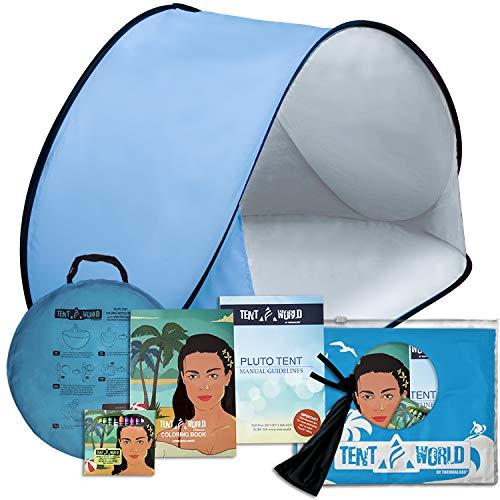 Pluto Strandmuschel Hellblau: Schützen Sie Ihre Kinder in jedem Wetter! Pop-Up Strandmuschel für Babys, perfekt für Reisen, Strandurlaub, Picknick im Park und Veranstaltungen im Freien. Inkl. Malbuch