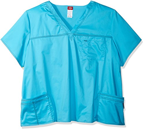 Scrub 4x Tops (Dickies Women's Youtility Jr. Fit V-Neck Scrub Top, Pink, 4X-Large)