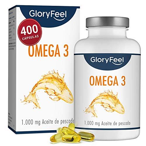 GloryFeel Omega 3 Aceite de Pescado 1000 mg - 400 Cápsulas de gran potencia - Efecto...