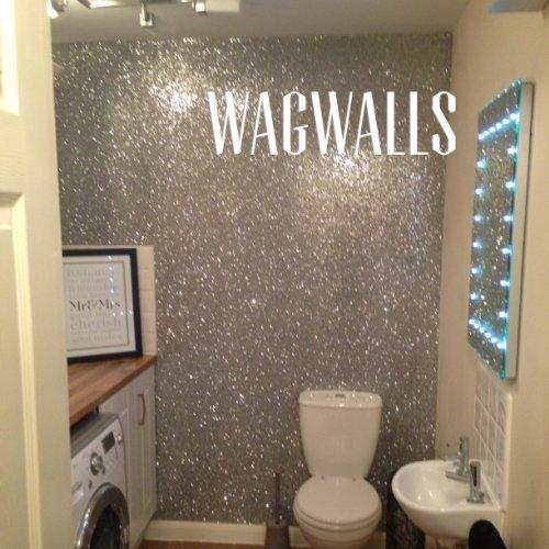 Glitter Wallpaper Grade 3(Silver) SOLD BY THE METRE: Amazon.co.uk: Kitchen  U0026 Home