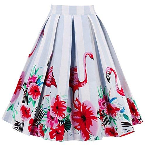 Minetom Damen Elegant Hohe Taillen Flared A line Gefaltetes Ausgestelltes Knielang Rock Drucken Faltenrock Flamingo EU M