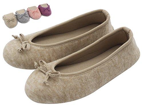 Aus Schuhe Damen Hausschuhe Ballerina Gewirken Kaschmir Beige Innen HomeTop Elegante qH8vt