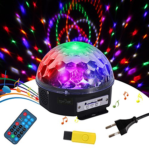 Tomshine Discokugel,Disco Lichteffekte,Partylicht als Musik Player,Discolicht mir Fernbedienung/3 Betriebesmodi für Show Hochzeit Geburtstag Party
