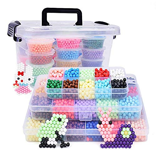 WANGHHH Shuizhuzhu Acqua appiccicoso Perline Set Fai da Te Regalo educativo Regalo per Bambini a Mano 15 Colori per Un Totale di 3500