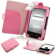 """ForeFront Cases® Funda cubierta de cuero sintético para con luz LED para lectura color rosa, Case Cover Para el Amazon Kindle 4, pantalla de E Ink de 6"""" (15cm), wifi, color rosa - 5th Generación"""