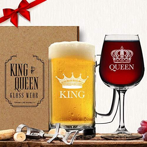 King Bier Queen Wein Glas (Set von 2)-Paare Newlyweds Hochzeit Geschenk-His und Hers Drinkware-Herr und Frau-Paar Gläser-Funny Fancy Wein Tasse Gläser-Cool Royalty Neuheit Trinkbecher