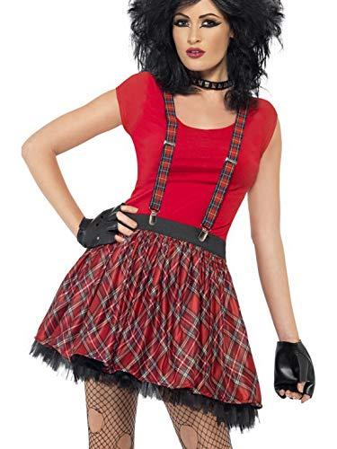 Fancy Ole - Damen Frauen Frauen Punker Kostüm Set mit Tütü Rock und fingerlosen Handschuhen, perfekt für Karneval, Fasching und Fastnacht, One Size, ()