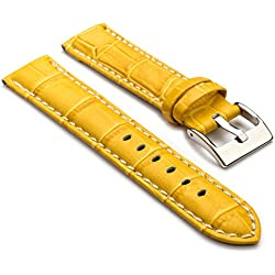 StrapsCo Premium Yellow Croc Embossed Leather Watch Strap size 28mm